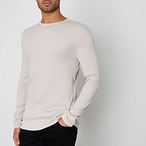 Kiezelkleurig geribbeld slim-fit T-shirt met lange mouwen