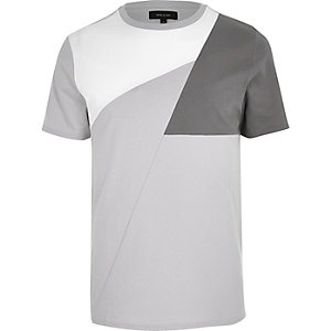 Grey color block T-shirt