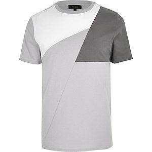 Grijs T-shirt met kleurvlakken