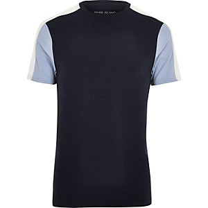 Navy colour block muscle fit T-shirt