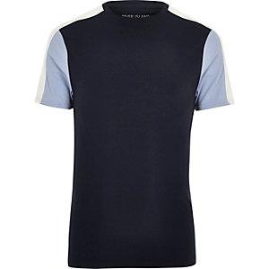 Marineblauw aansluitend T-shirt met kleurvlakken