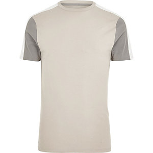 Steingraues Muscle Fit T-Shirt in Blockfarben