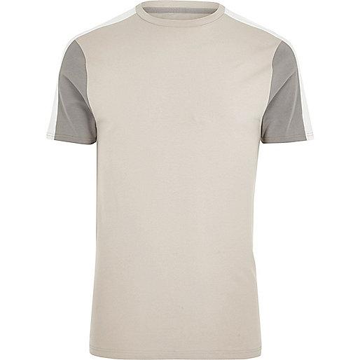 Stone colour block muscle fit T-shirt