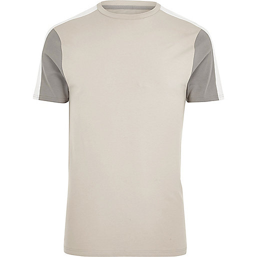 Stone color block muscle fit T-shirt