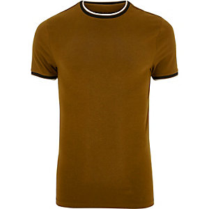 Brown muscle fit T-shirt