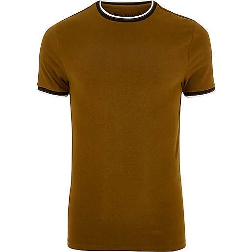 Brown muscle fit ringer T-shirt