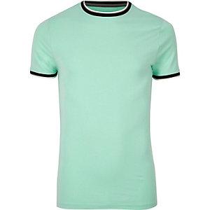 Muscle Fit T-Shirt in Mintgrün mit Ringerausschnitt