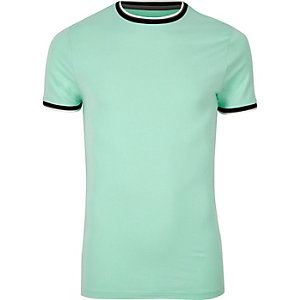 T-shirt vert menthe ajusté à bords contrastants