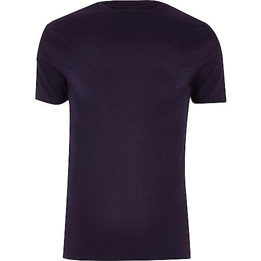 Dark purple muscle fit T-shirt