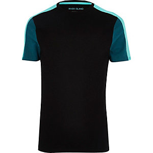 Black colour block muscle fit T-shirt
