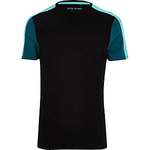 Black colour block muscle fit T-shirt