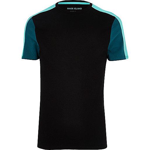 Black color block muscle fit T-shirt