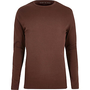 T-shirt marron chocolat côtelé à manches longues