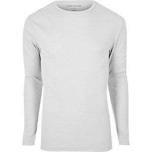 Graues, langärmliges Slim Fit T-Shirt
