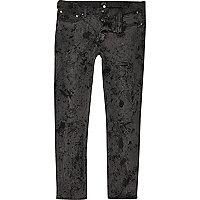 Black firework effect Sid skinny jeans