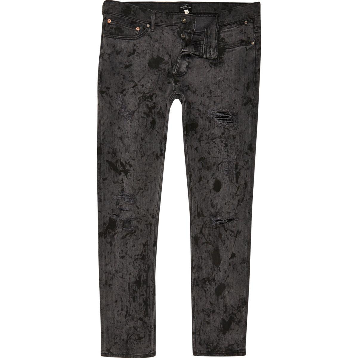 Sid - Zwarte skinny jeans met vuurwerkeffect