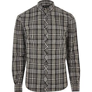 Only & Sons grijs gemêleerd casual geruit overhemd