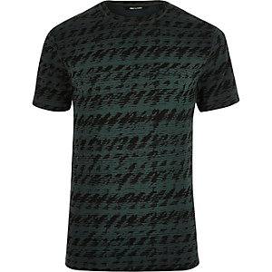 Zweifarbiges T-Shirt in Grün und Schwarz