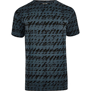 Only & Sons – Blaues T-Shirt mit abstraktem Muster