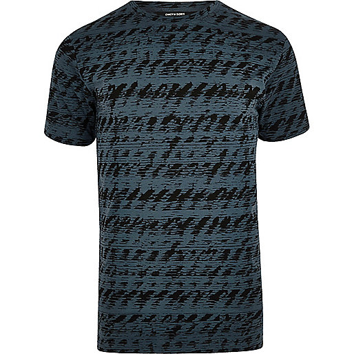 Blue Only & Sons abstract print T-shirt
