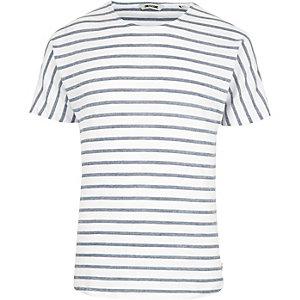 Only & Sons – Blaues, kurzärmliges T-Shirt mit Streifen