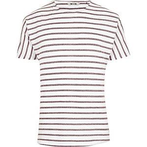 T-shirt Only & Sons rayé rouge à manches courtes