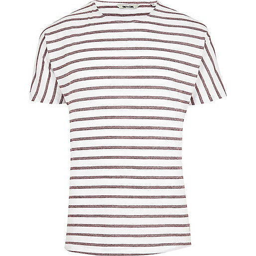 Red Only & Sons stripe short sleeve T-shirt