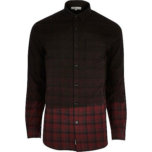 Red dip dye check flannel shirt