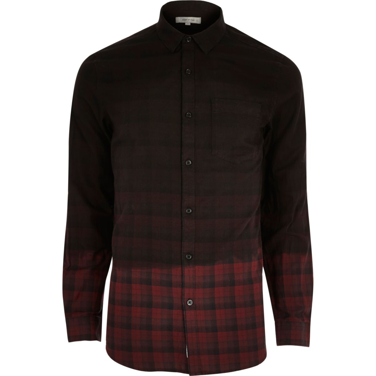 Red dip dye check flannel shirt