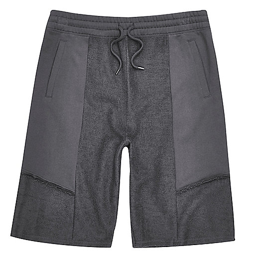 Grey patch panel shorts