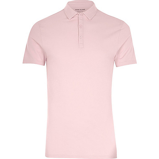 Pink muscle fit polo shirt