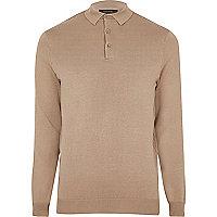 Light brown long sleeve polo jumper