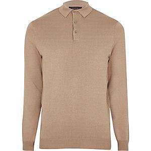 Hellbrauner, schmaler Polo-Pullover