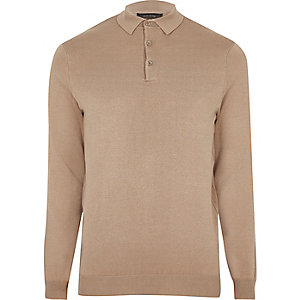 Light brown slim fit polo sweater