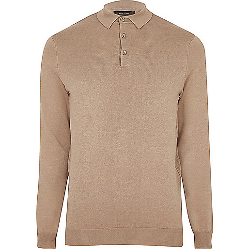 Light brown long sleeve polo jumper