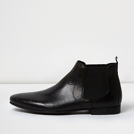 Bottines chelsea en cuir noir  Bottes  Chaussuresbottes