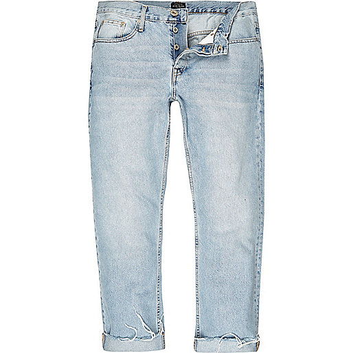 Light blue wash Cody loose fit raw edge jeans
