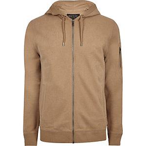 Camel brown casual zip front hoodie