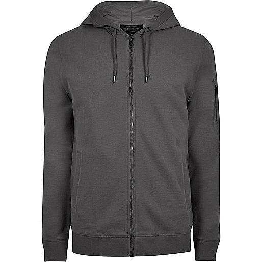 Slate grey casual zip front hoodie