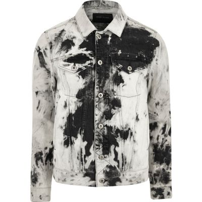 Zwart-wit acid wash denim jack