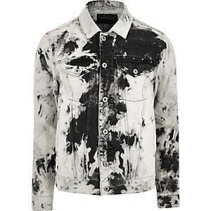 Black and white acid wash denim jacket