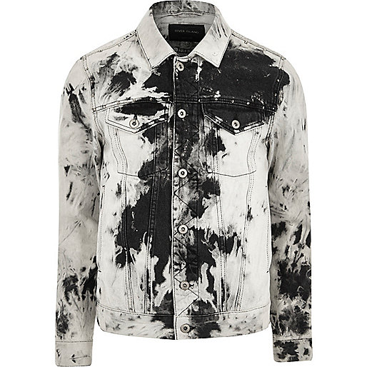 Black and white acid wash denim jacket