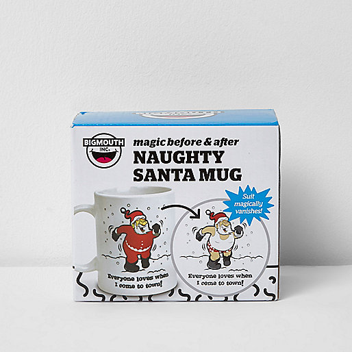 White naughty Santa Christmas mug