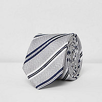 Grey silk stripe tie