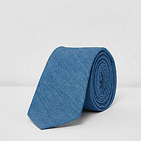 Blue denim tie