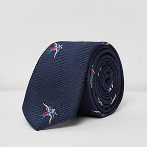 Marineblauwe stropdas met tatoeageprint