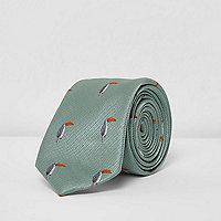 Blaue Krawatte mit Tukan-Motiv