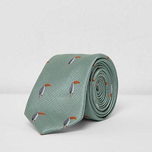 Cravate imprimé toucan bleue