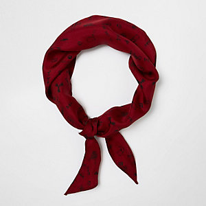 Red doodle print neck scarf