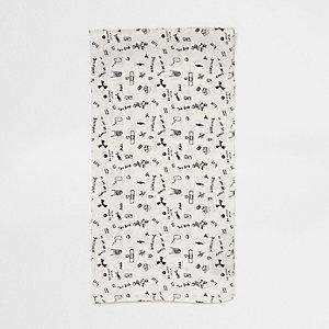 White doodle print neck scarf